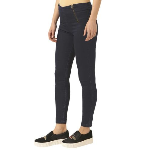 Miss Chase navy blue solid cotton jeggings