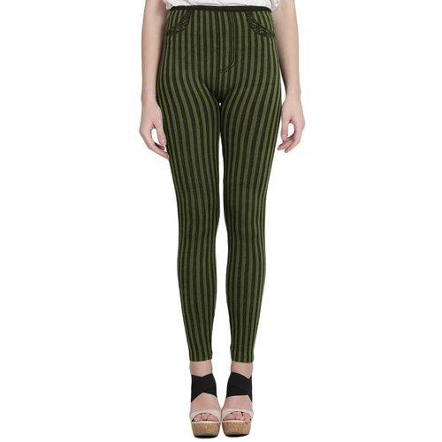 CAMEY green striped cotton jegging