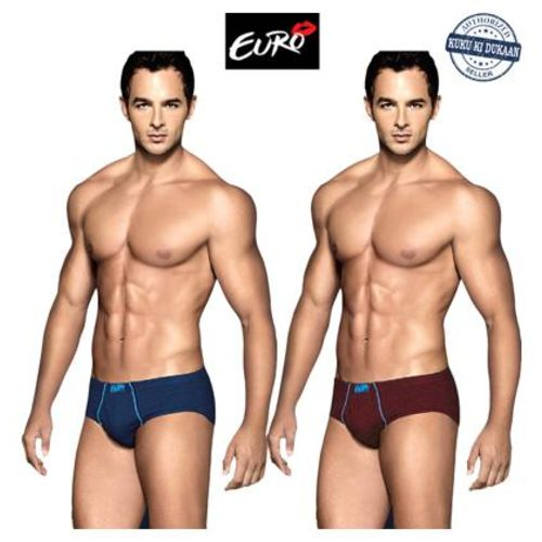 Euro Solid Briefs - Multi,Pack Of 2 by Kuku Ki Dukaan