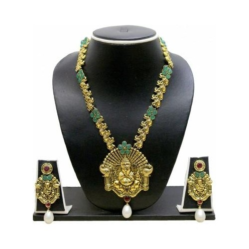 Zaveri Pearls Ganesha Long Zinc NecklaceSet