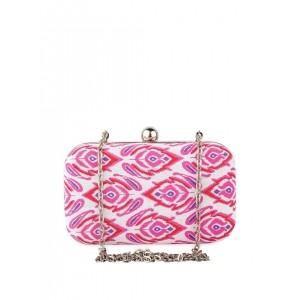 Hepburnette White & Pink Feather Touch Box Clutch