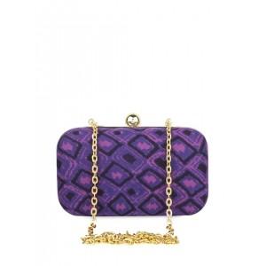 Hepburnette Purple Printed Box Clutch