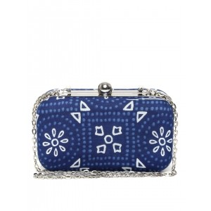 Hepburnette Blue Printed Box Clutch with Chain Strap