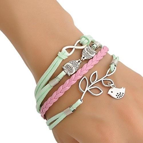 Aaishwarya Owl and Silver Leaf Wrap Bracelet