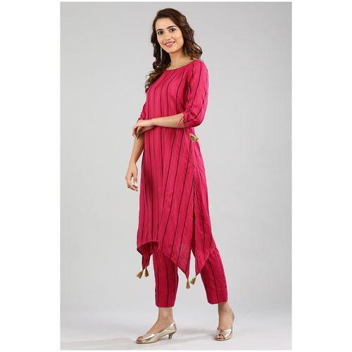 Aurelia Women Pink Striped Assymetrical Kurta by TCNS Clothing