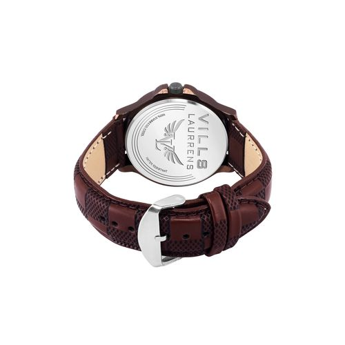 vills laurrens vl-1125 analogue coffee brown dial day and date men's watch
