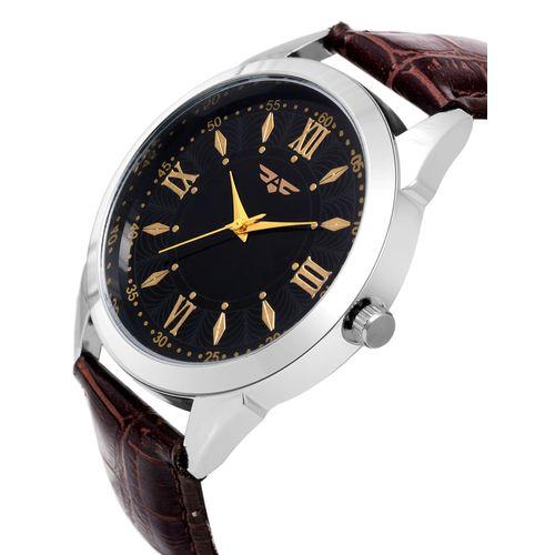 Asgard round dial analog watch-(204-brown-golden-time)