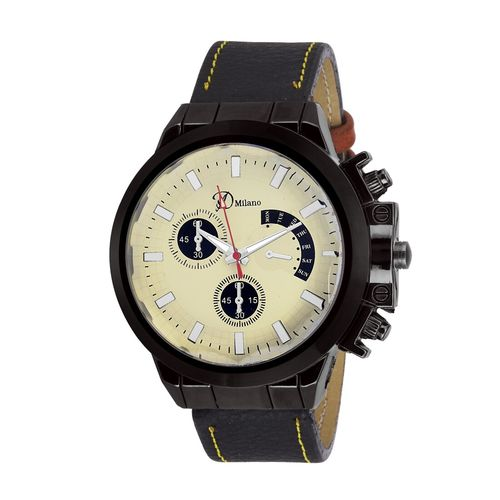 d'milano men eligent ivory casual analog watch