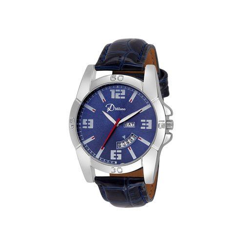d'milano men royal blue day & date analog watch