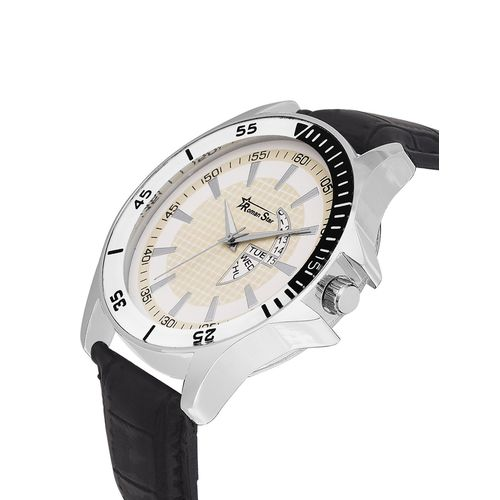 Roman Star leather strap black analog watch