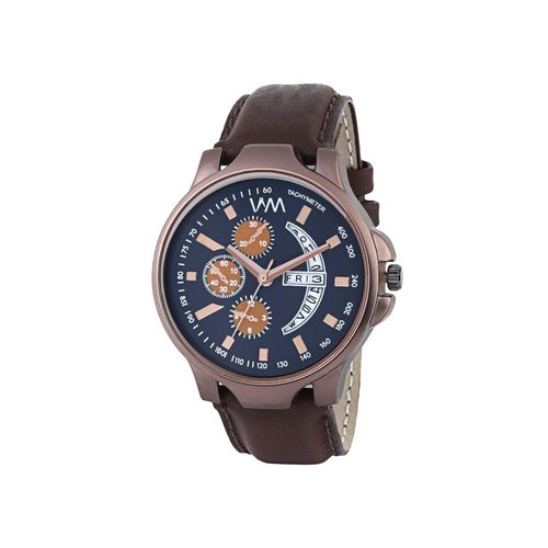 watch me brown leather analog watch for men ddwm-091ktd1