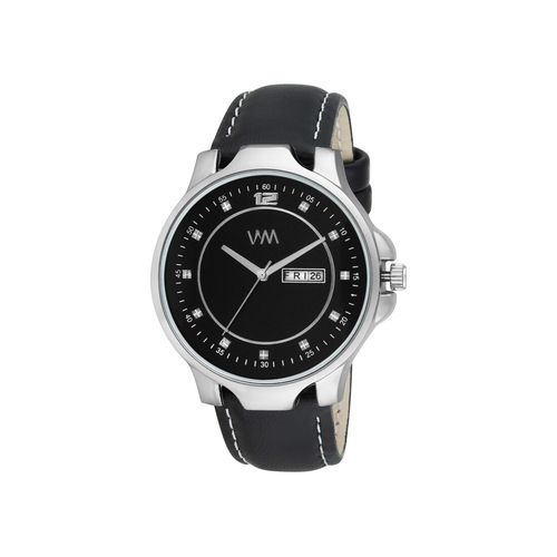 watch me black dial black leather analog watch for men ddwm-114ktd1