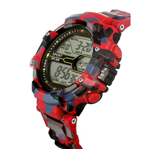 lorenz digital multicolor dial & army camouflage red strap sports watch for men | watch for boys- mk-3038-dg