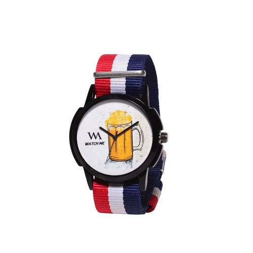 watch me printed dial nylon strap analog watch