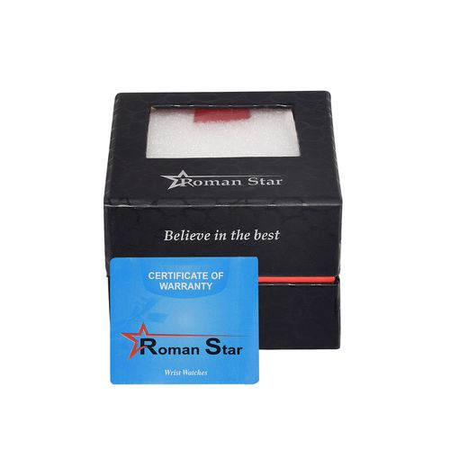 Roman Star leather strap black analog watch