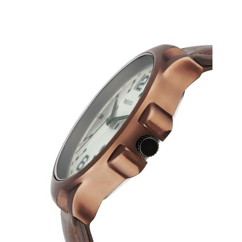 timesmith white dial brown leather analog watch for men tsc-031ktd1