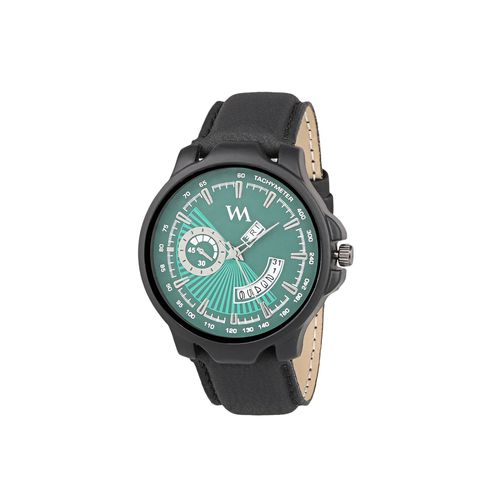 watch me day and date analog green dial black leather strap quartz watch for men and boys awc-022bys