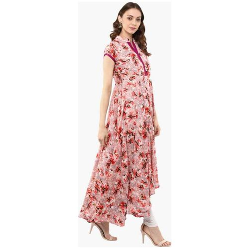 ForeverYoung Women Crepe Floral Peach Kurti by Forever Young