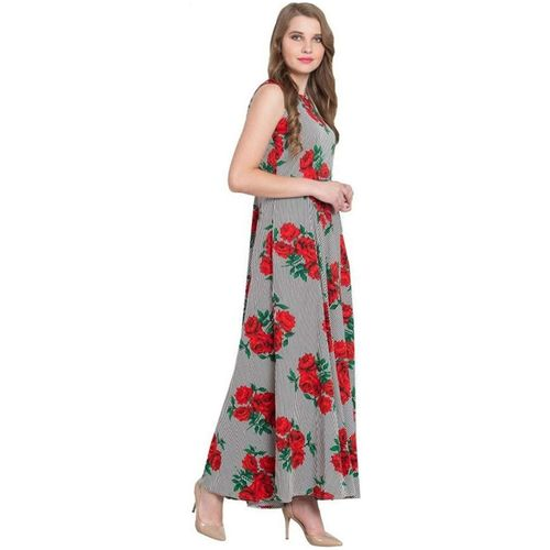 ForeverYoung Women Grey Floral Anarkali Kurti by Forever Young