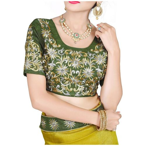 VIVELS Green Solid Universal Designer Saree With Blouse, With blouse by Creative Enterprise
