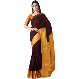 Mimosa Mysore Silk Style crepe Saree Color Brown by Kataria Silk House