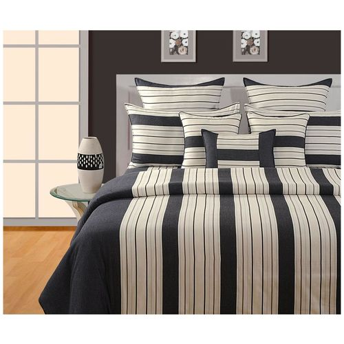 Swayam Cotton Striped Single Size Bedsheet 144 TC ( 1 Bedsheet With 1 Pillow Covers, Black ) by Swayam