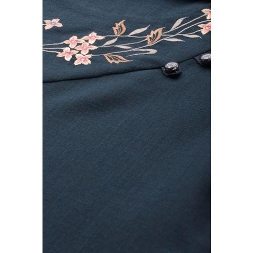MIMOSA Floral Embroidered Straight Kurta