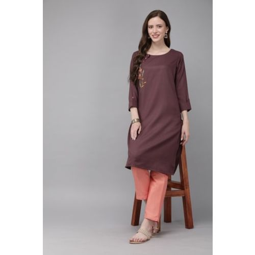 MIMOSA Straight Kurta with Floral Embroidery