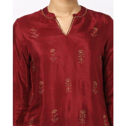 Rangriti Floral Print Straight Kurta with Mandarin Collar