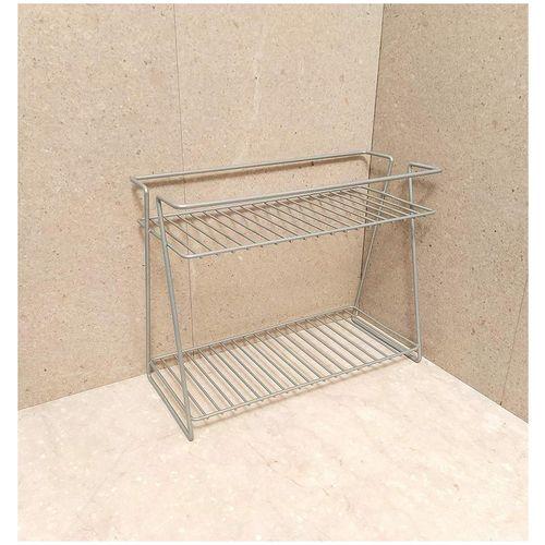Naoe New Multifunctional Kitchen Organizer Storage Shelf/Bathroom Storage Rack/Kitchen Shelf/Spice Rack In Grey Colour 2 Layer/2 Step/Made With Mild Steel