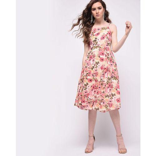 Kokkino Floral Print A-line Dress with Spaghetti Straps