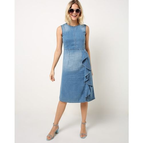 MADAME Washed A-line Denim Dress