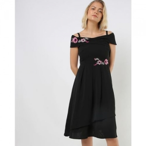 MADAME A-line Dress with Floral Applique