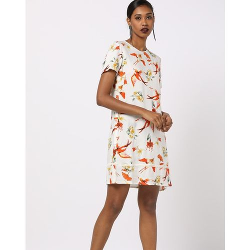 AJIO Tropical Print Tiered Dress