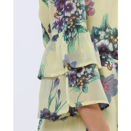 Rare Floral Print A-line Dress with Tiered Bell Sleeves
