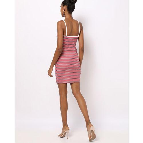 TALLY WEiJL Ribbed Striped Strappy Bodycon Dress