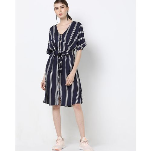 Rena Love Striped A-line Dress with Detachable Fabric Belt
