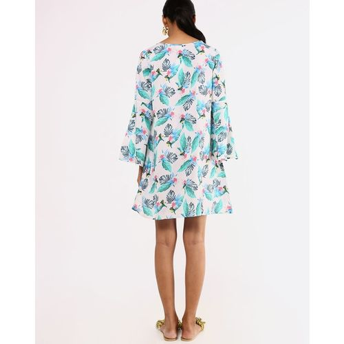 Sera Tropical Print A-line Dress with Bell Sleeves