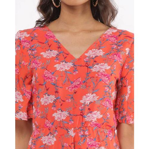 The Vanca Floral Print Maxi Dress with Flared Sleeves