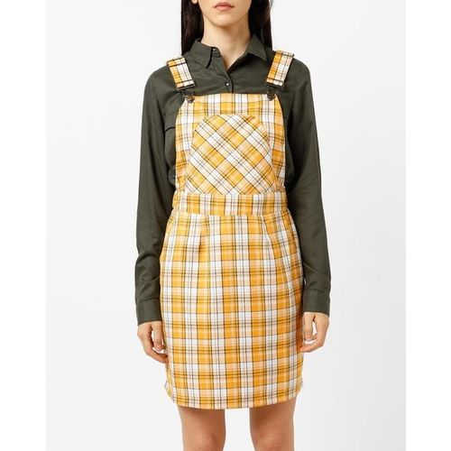 ajio Checked Pinafore Dress with Insert Pockets