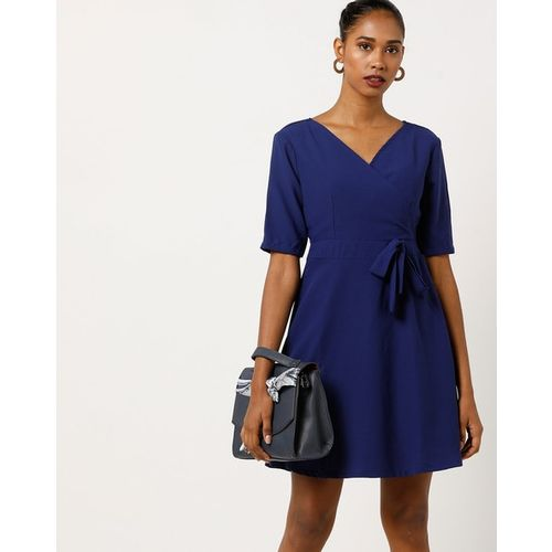 AJIO Fit and Flare Mini Dress with Waist Tie-up