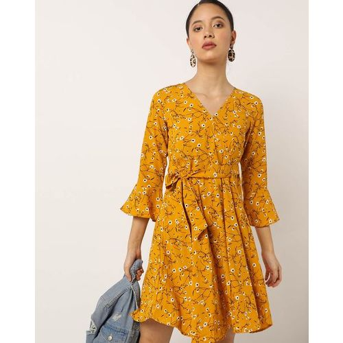 Trend Arrest Floral Print Skater Dress with Surplice Neckline