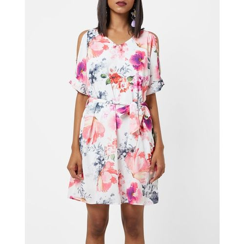 PROJECT EVE WESTERN WEAR Floral Print A-line Dress with Cold-Shoulder Sleeves