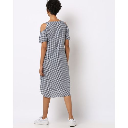 Rare Checked Cold-Shoulder Shift Dress with Insert Pockets