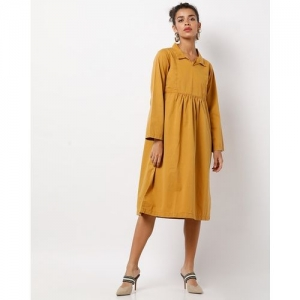 Freakins A-line Dress with Shirt Collar