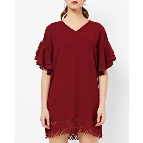 AJIO Laser-Cut Shift Dress with Tiered Sleeves