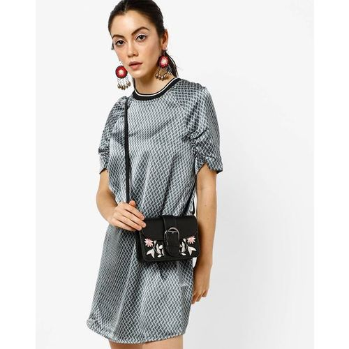 AJIO Printed Shift Dress with Ruched Raglan Sleeves