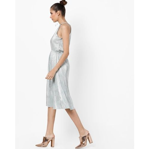 AJIO Halter-Neck Dress with Front Keyhole