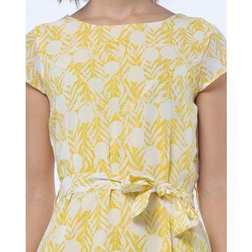 RIO Printed A-line Dress with Waist Tie-Up