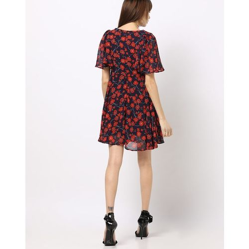 RIO Floral Print Skater Dress with Flared Sleeves